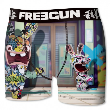 BOXER UNDERWEAR HOMME FREEGUN COLLECTOR LAPINS CRÉTINS TAG