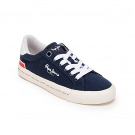 CHAUSSURES SNEAKER GARCON PEPE JEANS TENNIS CANVAS MARINE NAVY