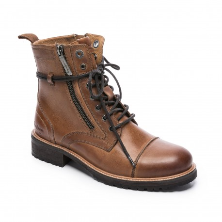 BOTTINES BOOTS CUIR FEMME PEPE JEANS MELTING W ZIPPER MARRON TOBACCO