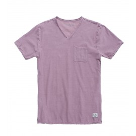 TEE-SHIRT MC HOMME TEDDY SMITH AGO DUSTY MAUVE RAYURES