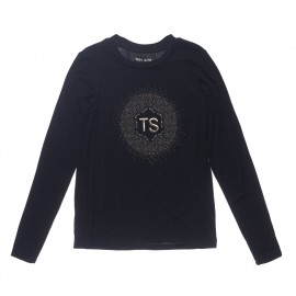 TEE-SHIRT MANCHES LONGUES LOGO FILLE TEDDY SMITH TAVY NOIR