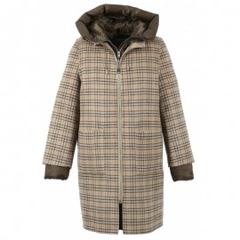 MANTEAU 4 EN 1 REVERSIBLE EN LAINE AVEC DOUDOUNE EN NYLON FEMME OAKWOOD LILIANA CARREAUX MARRON CLAIR BEIGE/KAKI